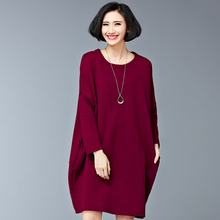 2016 Autumn And Winter Korean Women Dress Casual Loose Knee length O neck Wine Red Black