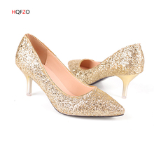 купить HQFZO  Women Pumps Extrem Sexy High Heels Women Bride Shoes Thin Heels Female Shoes Wedding Shoes Gold Sliver White Ladies Shoes дешево