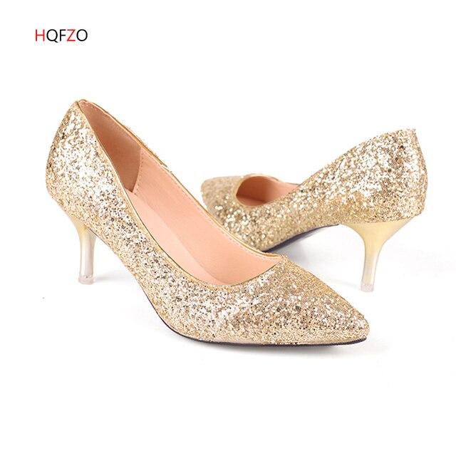 HQFZO 女性パンプスエクストリームセクシーハイヒール女性の花嫁の靴薄型ハイヒールの女性の靴結婚式の靴の金スライバー白女性靴