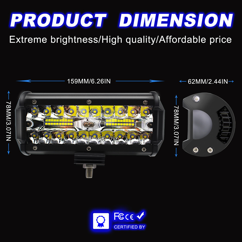 Image 5 - 2pcs 7inch LED Light Bar 240W Offroad Driving Lights LED Work Lights for Jeep LED Lamps For Cars Luces Led Para Auto-in Light Bar/Work Light from Automobiles & Motorcycles