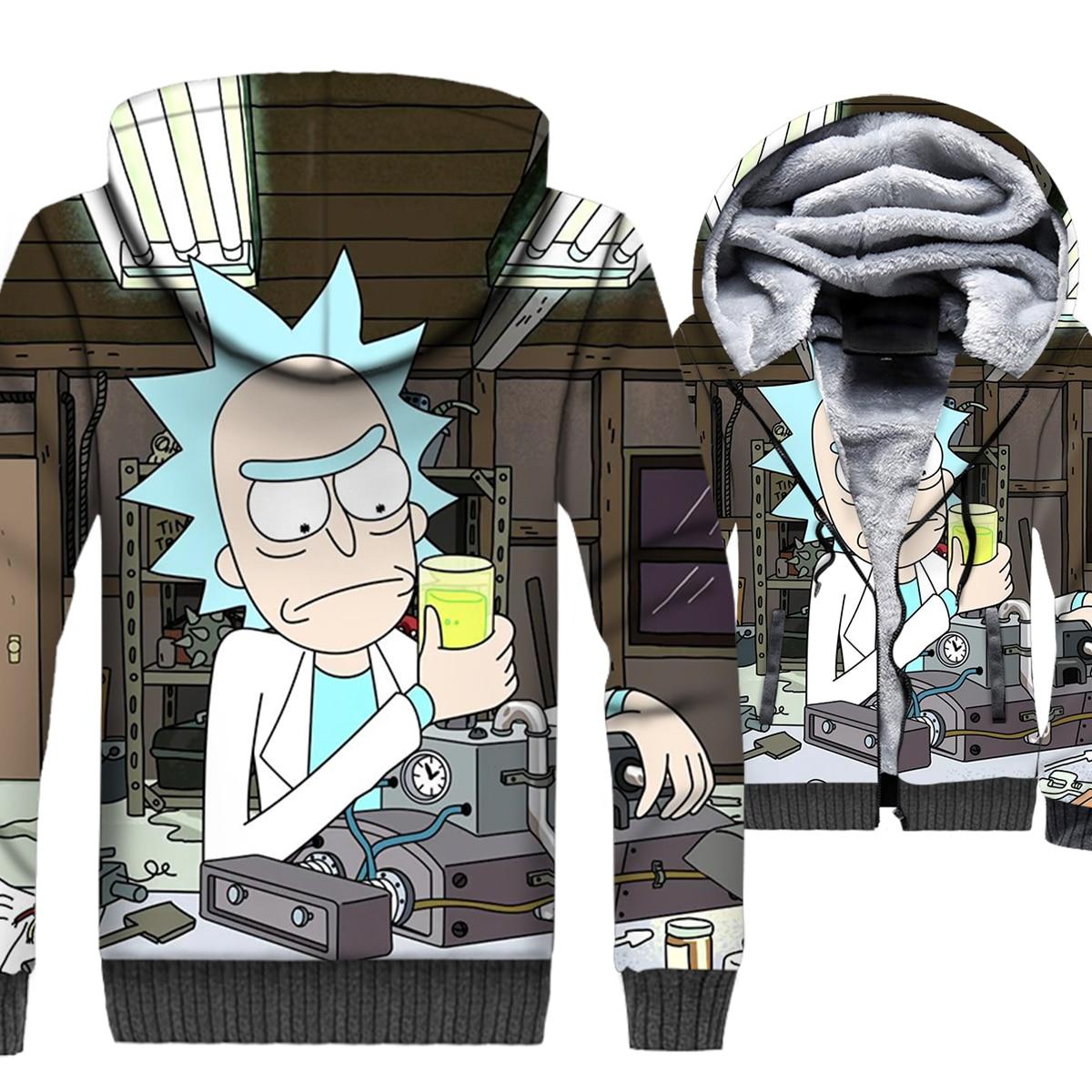 Rick and Morty Jacket 3D Print Hoodie Men Cartoon Sweatshirt Mens Winter Thick Fleece Warm Zipper Coat Science Cool Streetwear