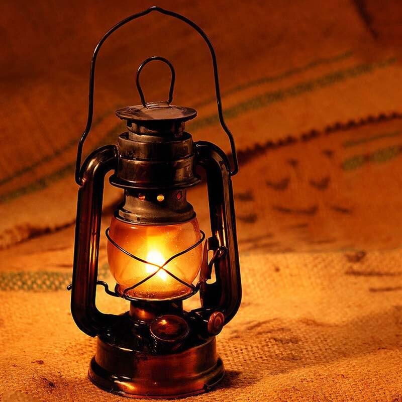 Rétro classique kérosène lampe 4 couleurs kérosène lanternes mèche Portable lumières parure SDF-SHIP