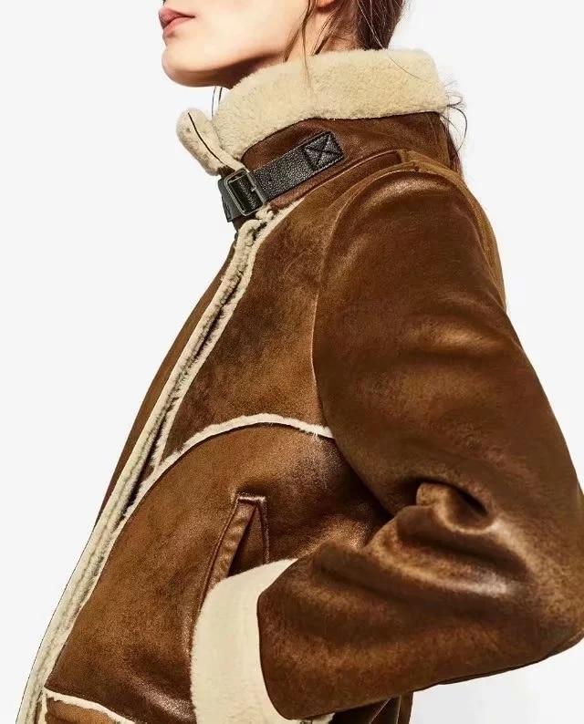 Roulé Thcik En Flétri Col Flocage Veste La Vintage Femmes Harajuku Plus Doublure Taille Laine Suede Cuir Camel Hiver Manteau nWw1OYwqrz