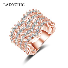LADYCHIC 2018 Luxury Women Rose/White Gold Color Ring with 60 Pieces AAA Cubic Zirconia Multi-layer Design Ring Jewelry LR1055 2020 luxury women silver color ring with aaa cubic zirconia unique cross rose gold color romantic wedding design ring for women