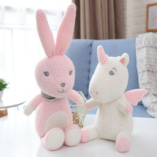 Dropship Baby Rattle Unicorn Soft Knitted Stuffed Animals Doll Toy Children Sleeping Mate Baby Shower Rattle Gift