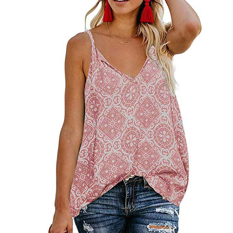 Z 2019 Top Summer Ladies Fashion Printed Sling T-shirt <font><b>Sexy</b></font> V-neck Top Casual Style Comfortable Breathable Top <font><b>haut</b></font> femme image