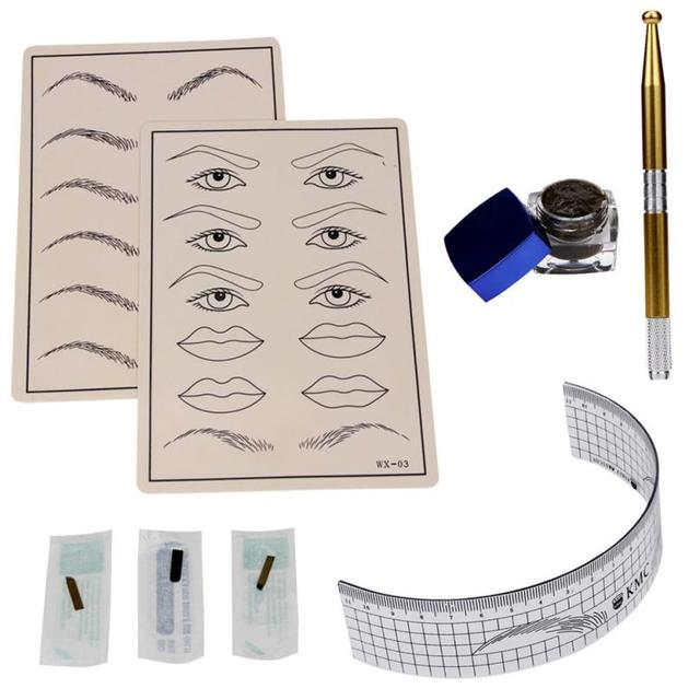 HOT New Arrival Silicone,plastic,Stainless Steel Permanent Makeup Microblading Eyebrow Tattoo kit Pen Needle Paste Skin Ruler