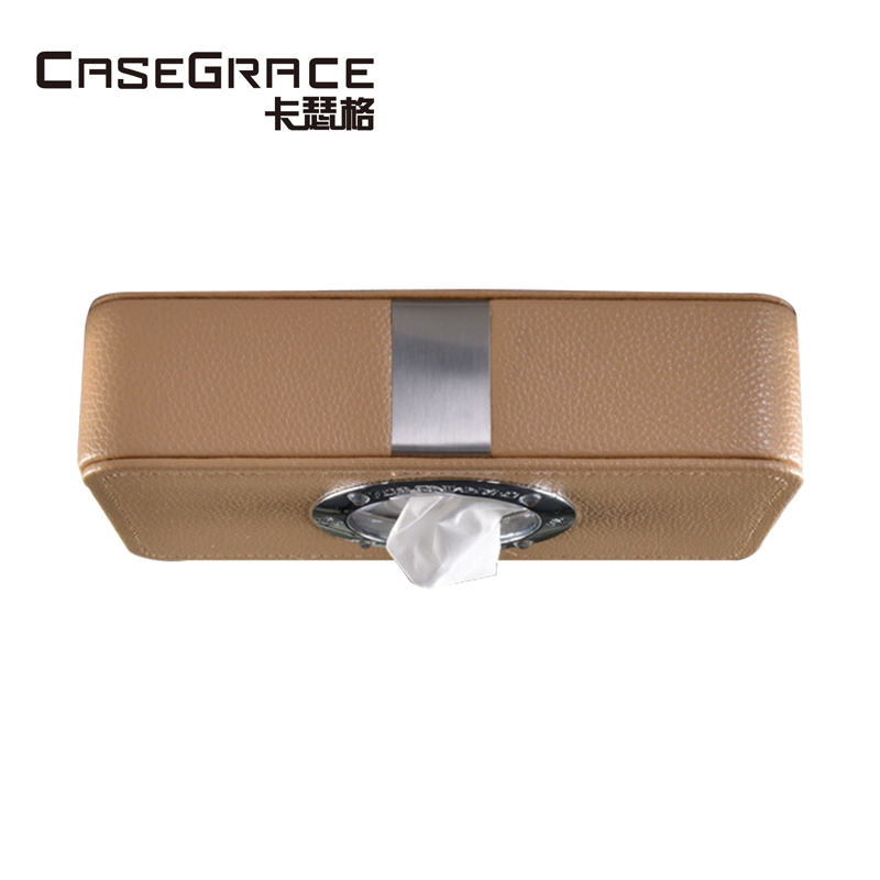 Casegrace high quality car use tissue boxes organizer great leather big space automatic strong ceiling mount storage box 02108