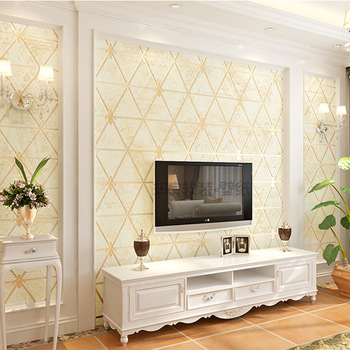 Modern luxury beige background wallpaper 3D thick suede non-woven wallpaper roll Living room bedroom TV wall decoration