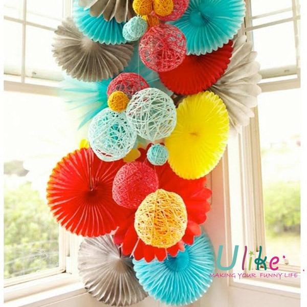 16 100pcs party tissue fan paper fan Tissue flowers party favor