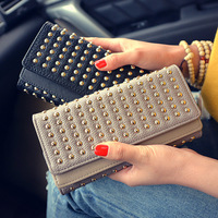 2018 Time limited New Arrival Synthetic Leather Punk Wallets Rivet Wallet Women's Long Design Purse Two Fold 2 Color Clutch