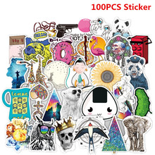 SLIVERYSEA 100Pcs Random NO Repeat Mixture Stickers Doodling Travel DIY Stickers Car Motorcycle Luggage Laptop Bike Scooter