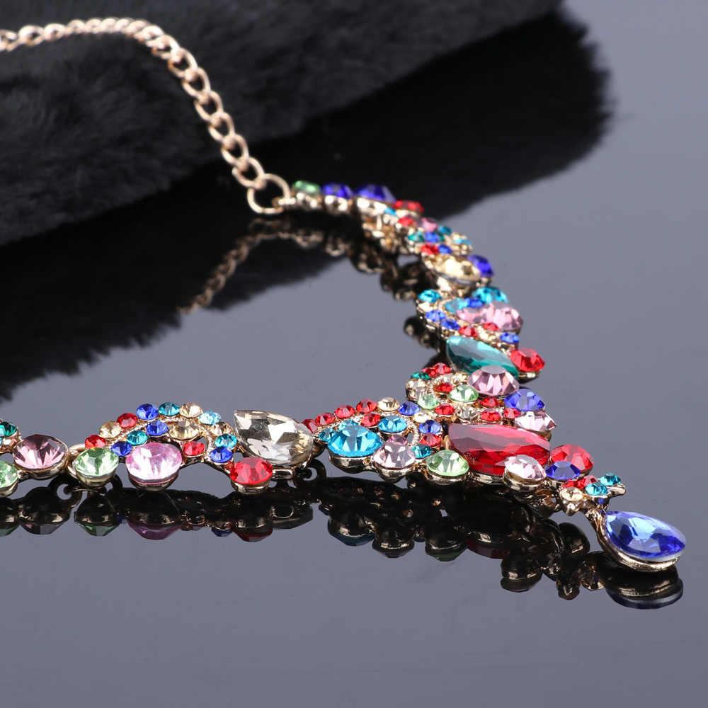 Fashion Crystal Pernikahan Perhiasan Set untuk Wanita Pengantin Pesta Kostum Perhiasan Mewah Pengantin Kalung Anting-Anting Set