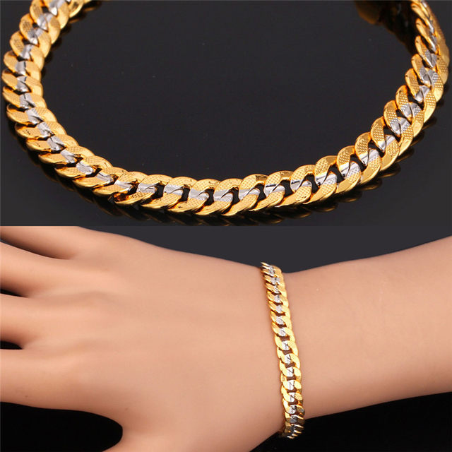 U7 Two Tone Gold Color Bracelet Men Jewelry Whole Trendy 6mm 21cm Cuban Chain Bracelets For Women H594