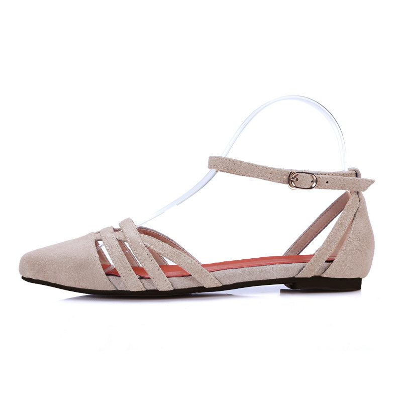 2017 Superstar Shallow Classic Pointed Toe Flats Cow Suede Ballet Ankle Strap Solid Women Elegant Party Casual Summer Shoes 22