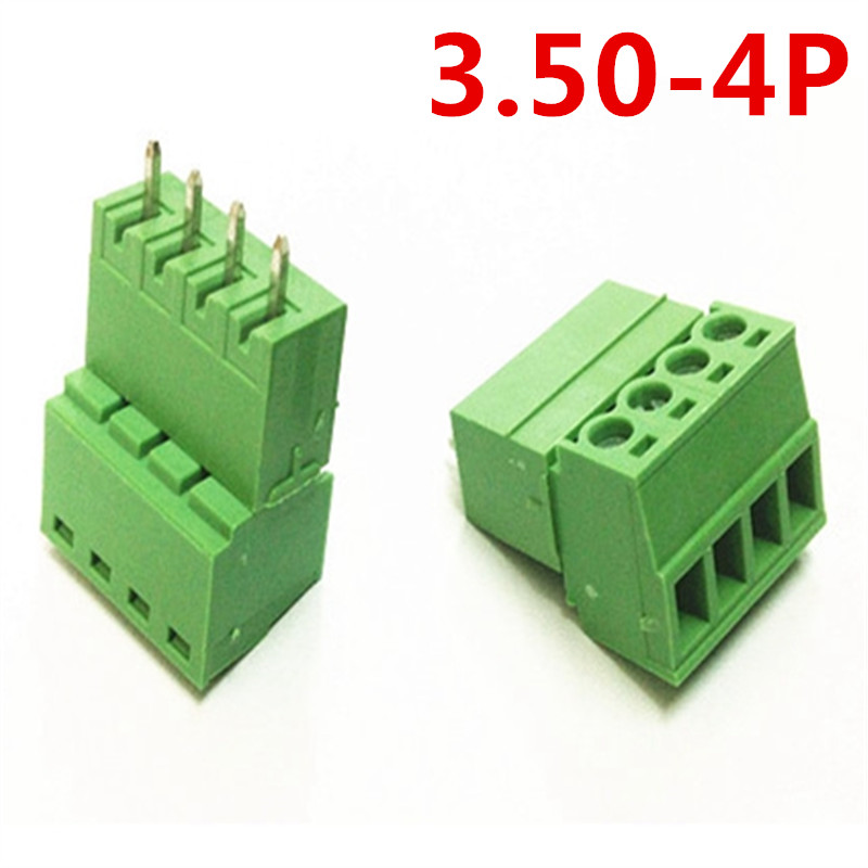 10sets 4 Pin PCB Electrical 15EDG-3.5mm Pitch Pluggable Type Straight Screw Green Terminal Block Connector pin header and socket