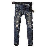 Męskie Dżinsy Zgrywanie Zniszczone Udzielenie Biker Moto Stożkowe Nogi Motocyklowe Kowbojskie Spodnie Skinny Slim Fit Spodnie Jeansowe