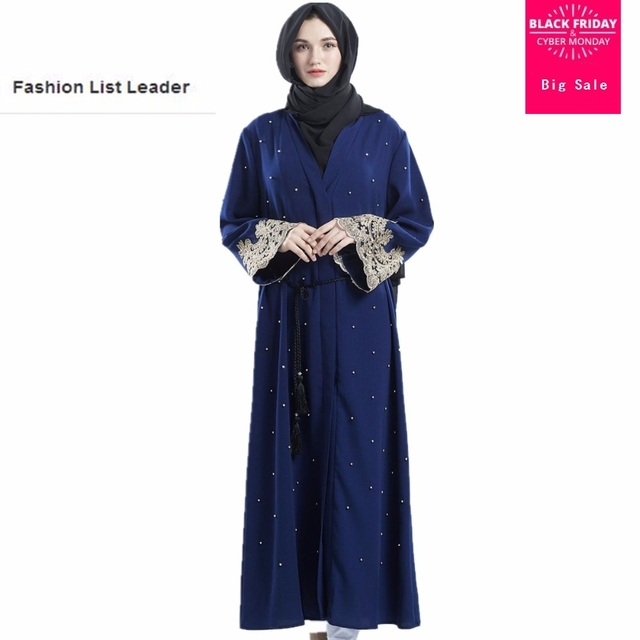 277a0a2493 US $25.73 23% OFF|Muslim adult lace embroidery abaya Arab Fashion Turkey  Middle East beading Cardigan Dresses Musical Robe Ramadan abayas wj2231-in  ...