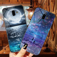 For Samsung Galaxy J6 2018 plus Starry dream tempered glass shell soft edging Plus J600F/DS Painted Back Bag