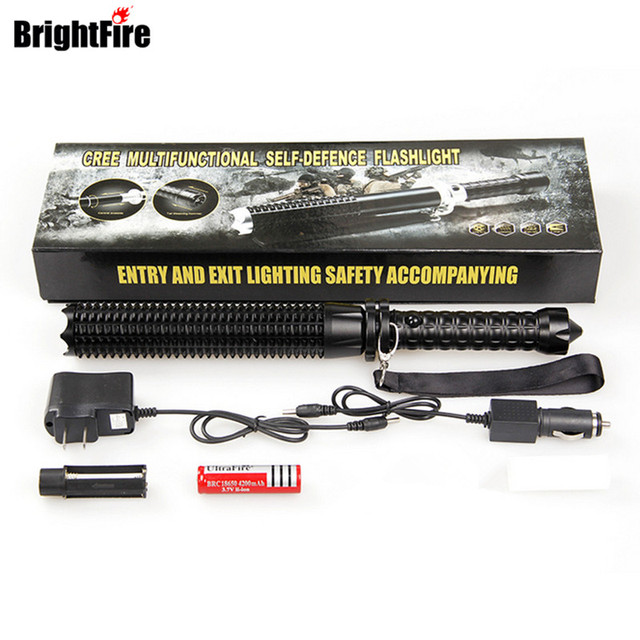 Super cool perfect set attack flashlight stick batons self defense multifunctional tactical flashlight zoomable torch