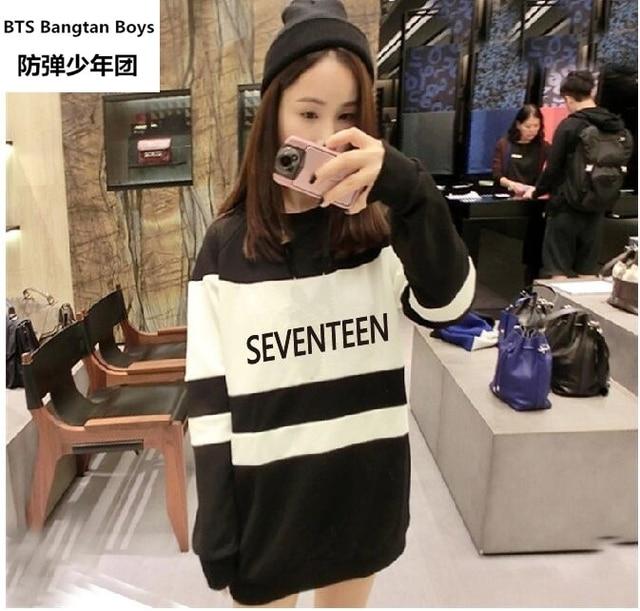 547fb83ab18 Thin Kpop seventeen member sweatshirt men women striped sleeve pullover  hoodie Seventeen17 plus size
