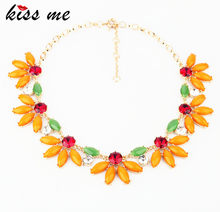 2013New Styles Fashion Accessories Bohemia Orange Fresh Short Necklace(China)