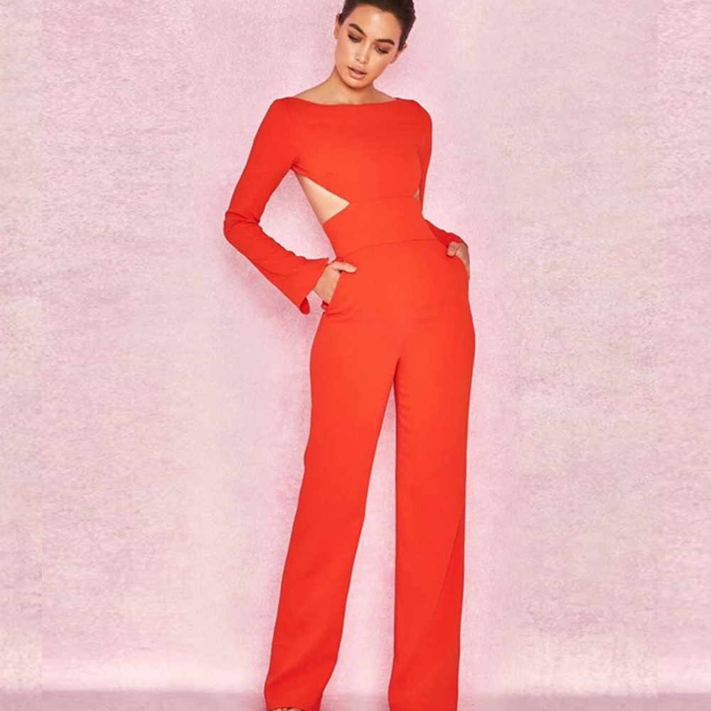 18656fd7027 Elegant Red Long Sleeve Paolyester Jumpsuit 2018 Sexy Women Backless  Celebrity Night Party Jumpsuits Solid Wholesale
