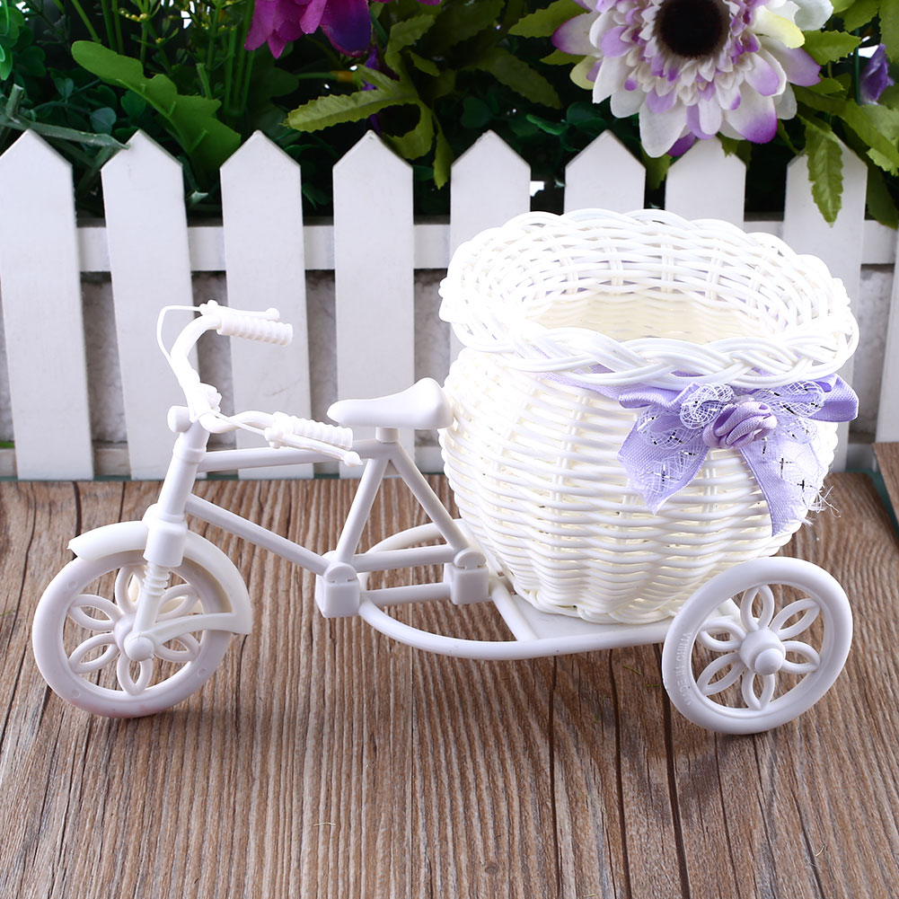 Flower Plastic White Tricycle Bike Design Flower Basket Container For Flower Plant Home Weddding Decoration 23*12.5*9cm