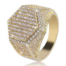 Men's Ring Hip Hop Iced Out High Quality Micro Pave CZ Finger Ring Silver Gold Color Square Rings For Men Jewelry(China)