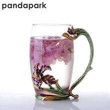 Pandapark креативный Роскошный Зеленый Эмалированный стеклянный цветочный чайный набор кружка молочный стакан офисный термостойкий стакан кружки для завтрака PPX024