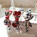 Estilo britânico Xadrez Cabeça Acessórios Para o Cabelo Do Bebê Hairband Do Cabelo Bow Headband Da Flor Headwear Headwrap Atacado-4
