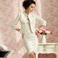 2017 Весна Осень женская Юбка Устанавливает Белый Жаккардовые Небольшой Пиджак Миди Юбка Twinset Дамы Формальные Профессиональные Рабочие Костюмы