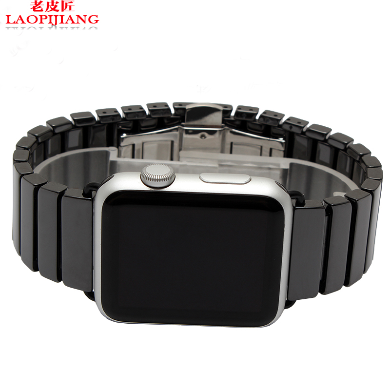 laopijiang Applewatch Watchband ceramic material Apple watch strap watch with black and white ceramic Iwatch38 42mm