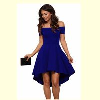 Summer Dress 2017 Women Off Shoulder Party Dresses Red Blue Casual Elegant Vintage Midi Dress Vestidos
