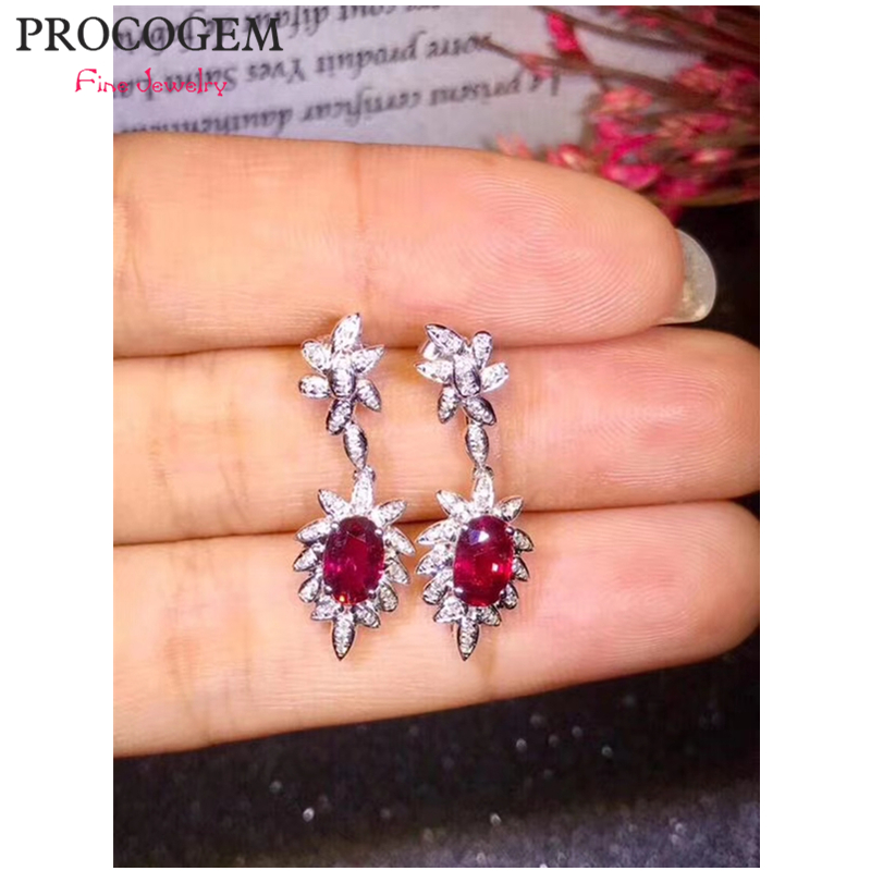 New Natural Romantic Ruby Drop Earrings with CZ for Women Party wedding Genuine gemstones Fine jewelry 925 Sterling Silver #466New Natural Romantic Ruby Drop Earrings with CZ for Women Party wedding Genuine gemstones Fine jewelry 925 Sterling Silver #466