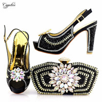 Fashion black high heel shoes and evening bag set with luxury stones 1719 1 heel height 10.5cm