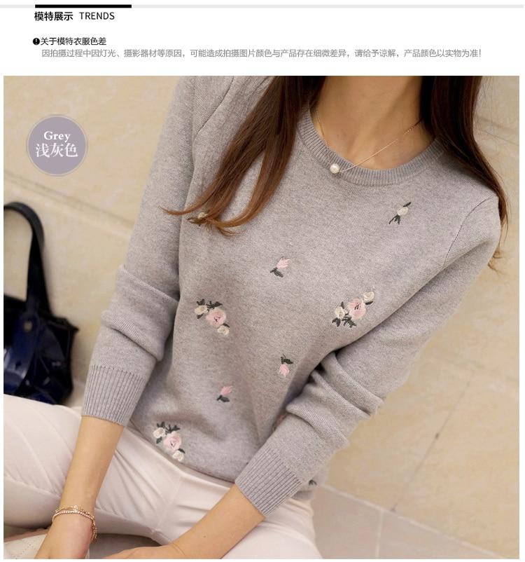 Lcybhe 2019 outono camisola feminina bordado de