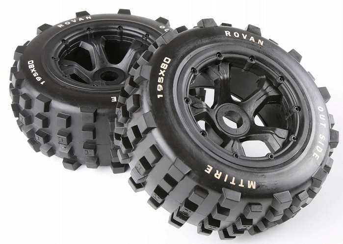 Rovan 1/5 Scale RC Car BAJA Parts Rear Knobby Wheel Tyres KM RV HPI Baja 5T/ 5SC LOSI 5ive-t DBXL 195*80MM NEW
