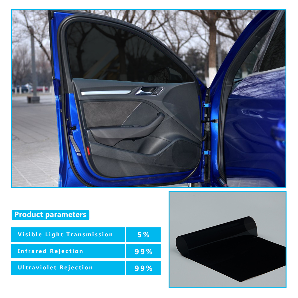 Film de teinte de fenêtre de voiture teinte 5% VLT noir résistant aux rayures UV pour Auto verre voiture maison accessoires commerciaux 1 m x 6 m
