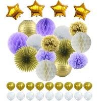 마일 라 스타 & 라텍스 풍선 퍼플 화이트 골드 테마 조직 종이 벌집 공 제등 종이 폼폼 꽃 파티 장식