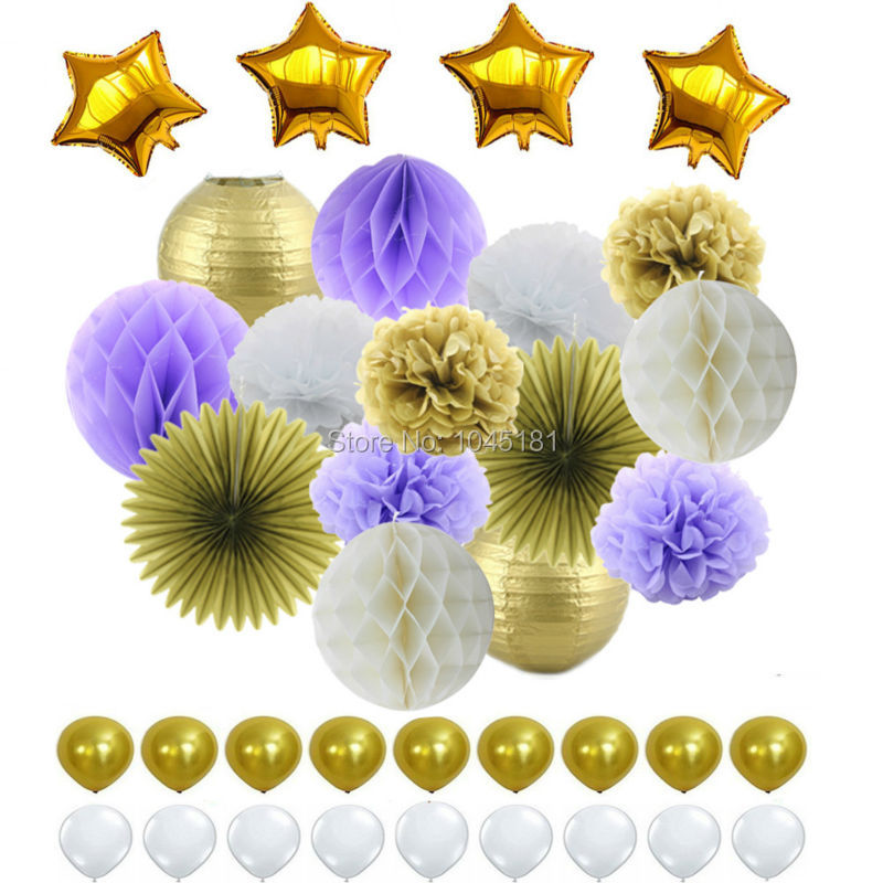 Mylar Star&Latex Balloon Purple White Gold Theme Tissue Paper Honeycomb Balls Lanterns Paper Pom Pom Flowers for Party Decor