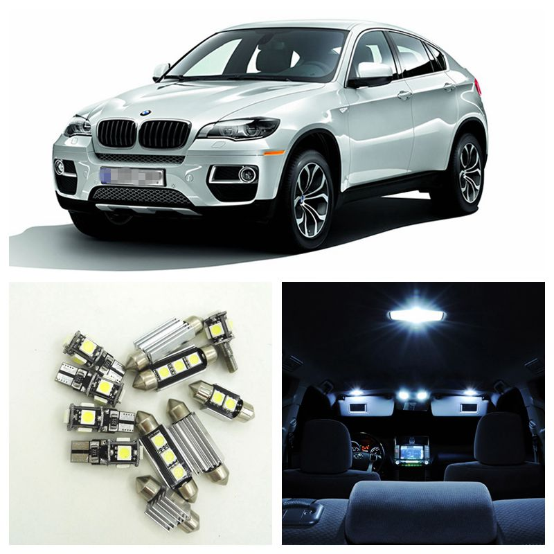 22pcs White Canbus No Error Car LED Light Bulbs Interior Package Kit For 2009-2014 BMW X6 E71 Map Dome Trunk Footwell Lamp 15pcs white canbus error free car led light bulbs interior package kit for 2002 2003 2004 audi a4 b6 map glove box door lamp