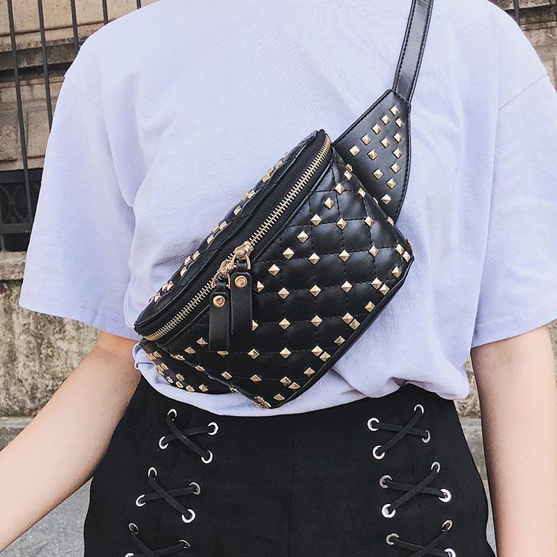 ZDARLBO Fashion Women Fanny Pack Rivets Peggybuy Waist Bag For Women Bananka Belt Chest Bag Female Hip Bum Leg Bags