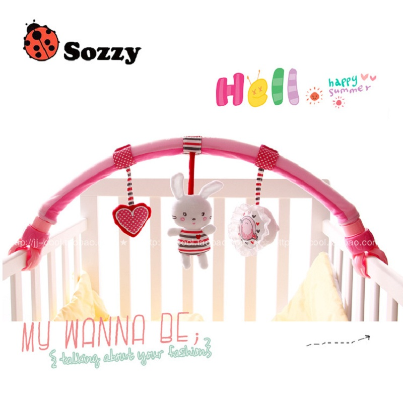 [Sozzy] 0-24M Rabbit Baby Crib Toy Stroller Rattles Seat Take Along Travel Arch Toys for Pram