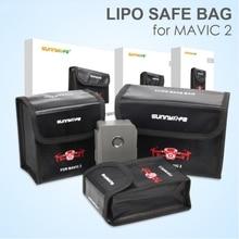 Sunnylife, bolsa de armazenamento seguro de lipo, à prova de explosão, bateria protetora para dji mavic 2 pro & zoom drone