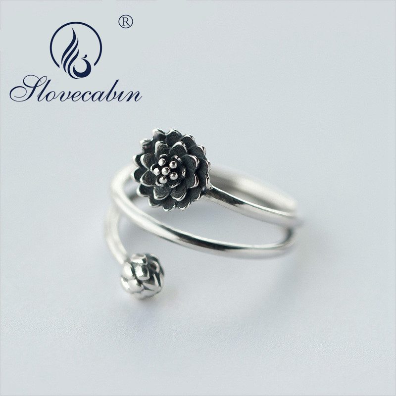 Slovecabin 100% Real 925 Sterling Silver European Vintage 3-layers Multi -Rows Lotus Flower & Bub Ring Namaste Yoga Jewelry