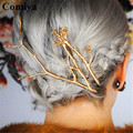 Fashion new arrival wholesales long gold silver plated hair accessories hairpins zinc alloy vintage jewelry bijoux femme hairpin