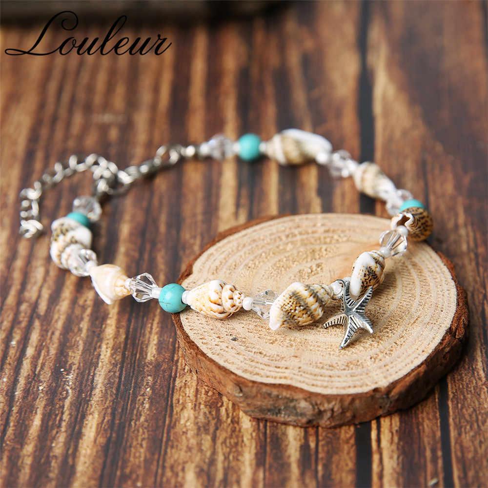 2 sztuk Louleur czechy srebrny bransoletka na kostkę urok fala powłoki boso łańcuch bransoletka kostki dla kobiet Sandle plaża Boho biżuteria