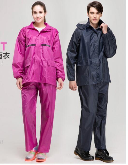 2sets wholesale Polyester article reflective breathable raincoat Fission raincoat rain pants suit men women single raincocat
