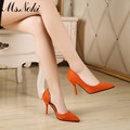 Ms.Noki Fashion orange shoes women flock high heel pumps slip on summer thin heels shoes size 34-39 solid party girls sandals